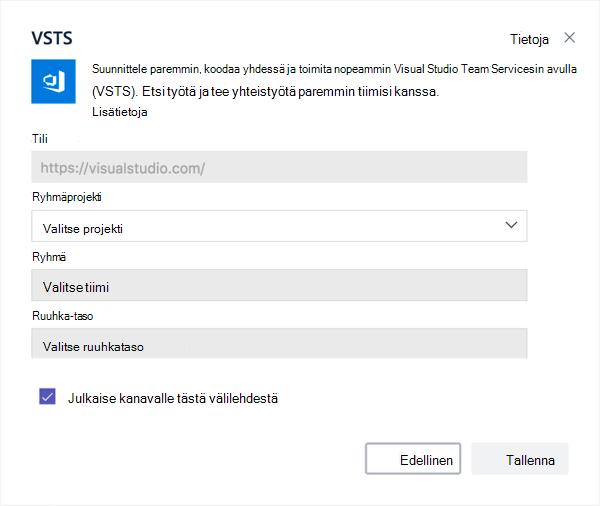 Visual Studio-valintaikkuna Kanban taulun lisääminen välilehteä.
