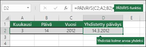 PÄIVÄMÄÄRÄ-funktion 2. esimerkki