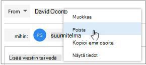 Lähettäjä-kentässä nimeä hiiren kakkospainikkeella ja valitsemalla Poista.