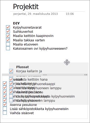 Muistiinpanosäilöjen siirtäminen OneNote-sivulla