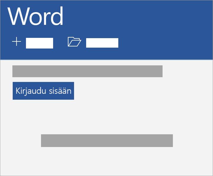 Kirjaudu sisään Microsoft-tililläsi tai Office 365:n työpaikan tai oppilaitoksen tilillä.