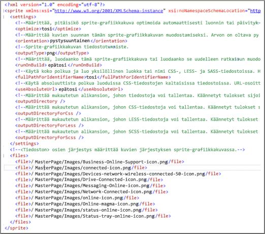 Näyttökuva kuvasarjan XML-tiedostosta