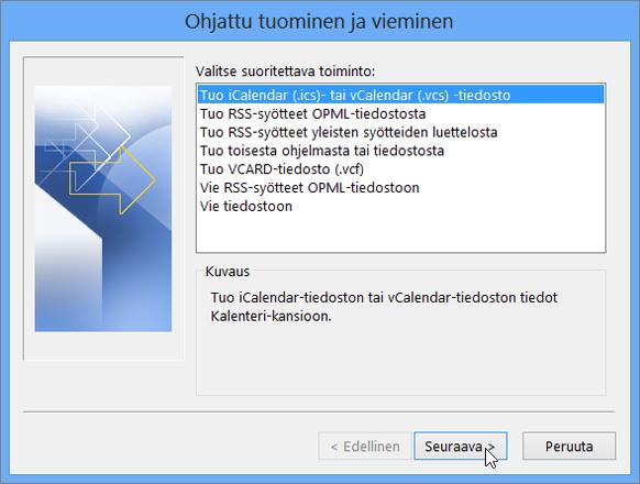 Valitse iCalendar- tai vCalendar-tiedosto.