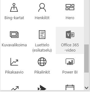 Näyttökuva Office 365 Video -valikkopainikkeesta SharePointissa.