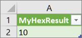 Laskentataulukon MyHex-funktion tulos