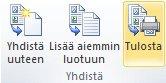 Luettelon yhdistäminen tulostimeen