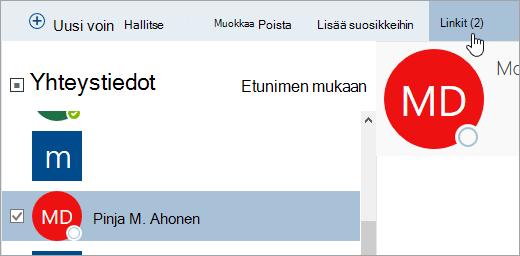 Näyttökuva Henkilöt-sivun Linkit-painikkeesta.