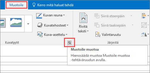 Näyttöleike Outlookin käyttöliittymän Muotoile-välilehdestä, jossa Muotoile muotoa on valittuna.