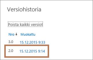 OneDrive for Businessin Versiohistoria-valintaikkuna
