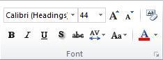 PowerPoint 2010 -valintanauhan Aloitus-välilehden Fontti-ryhmä.