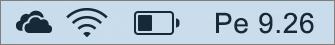 OneDrive-kuvake Macin ilmaisinalueella