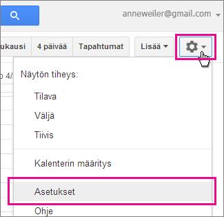 google-kalenteri – asetukset – asetukset