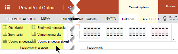 Voit lisätä sävytyksen tyylit tiettyjen rivien tai sarakkeiden taulukkoon.