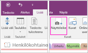 Näyttökuva Lisää näyttöleike -painikkeesta OneNote 2016:ssa