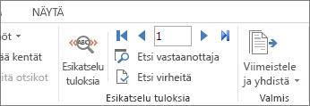 Näyttökuva Wordin Postitukset-välilehdestä, jossa näkyy Esikatsele tuloksia -ryhmä.