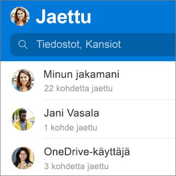 Jaetut tiedostot -näkymä Androidin OneDrive-sovelluksessa