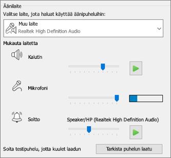 Äänilaitteen mukautetut asetukset (kaiutin, mikrofoni, soittoääni)