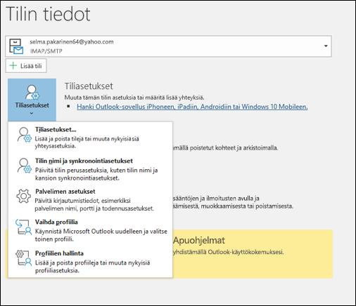 Sinulla on monenlaisia tili asetuksia, joita voit muuttaa Outlookissa.