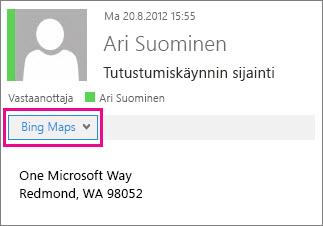 Outlook-viesti, jossa on Bing Maps -sovellus näkyvissä