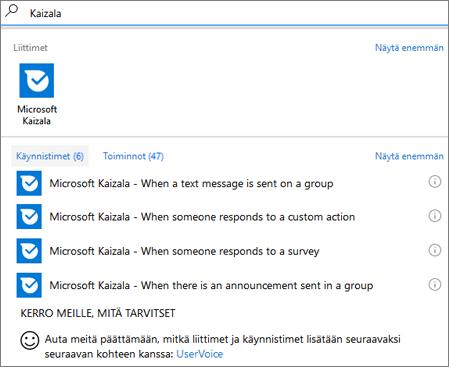 Näyttökuva: Kirjoita Kaizala, ja valitse sitten Microsoft Kaizala – Kun joku vastaa kyselyyn