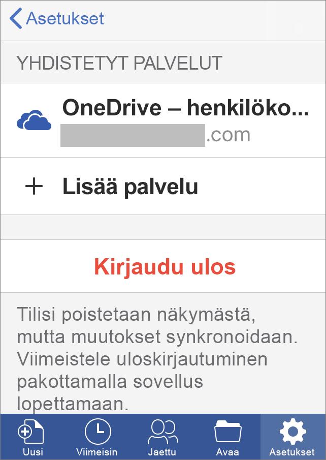Näyttää Kirjautuminen ulos -vaihtoehdon Office for iOS:ssä