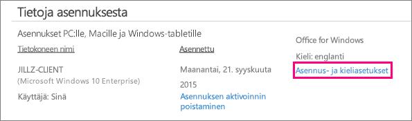 Näyttää Kieli- ja asennusasetukset -linkin Office 365:n tilinhallinnassa