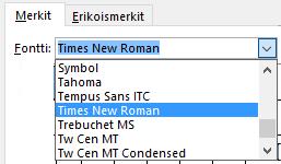 Määritä fontti Symbolit-välilehdessä.