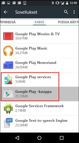 Google Play -kaupan sovelluksen välimuistin tyhjentäminen