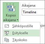 Projectin Kopioi aikajana -painike ja valikko