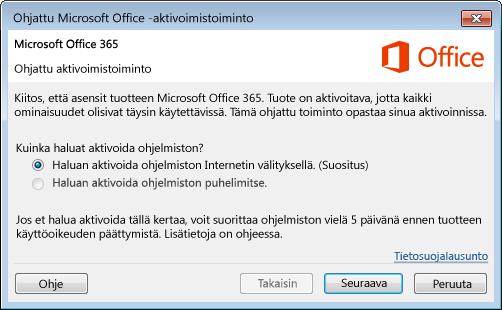 Näyttää Office 365:n ohjatun aktivoimistoiminnon