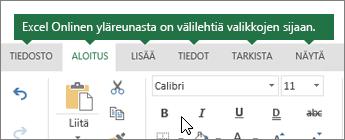 Aloitus-, Lisää-, Tiedot- ja Näytä-välilehdet Excel Onlinessa