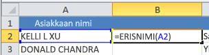ERISNIMI-funktio solussa B2