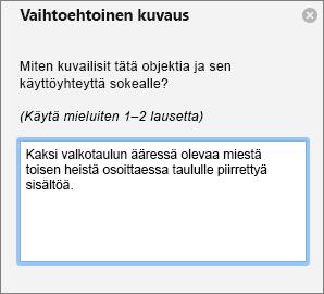 Vaihtoehtoinen teksti-ruudun vaihtoehtoisen tekstin lisääminen kuvaan Outlookissa