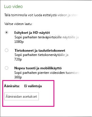 Luo video -valintaikkuna