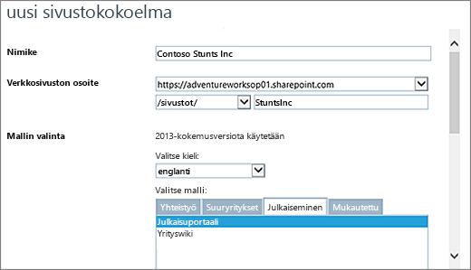 Uusi sivustokokoelman valintaikkuna, jonka yläosassa julkaisuportaali näkyy korostettuna