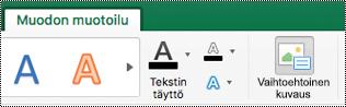 Excel for Macin valinta nauhan muotojen vaihtoehtoinen teksti-painike