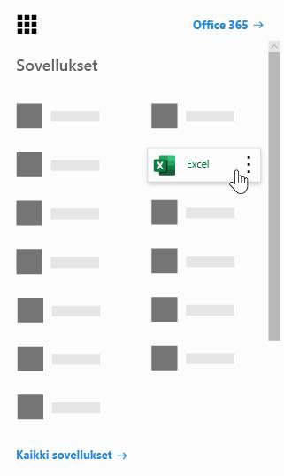 Office 365:n sovellusten käynnistys ja Excel-sovellus korostettuna