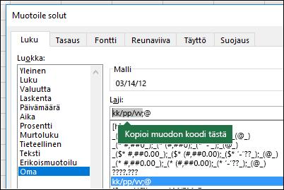 Esimerkki Muotoile > Solut > Luku > Oma -valintaikkunan käytöstä, jotta Excel luo muotoilumerkkijonot puolestasi