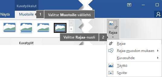 Kuvatyökalut - Muotoile -välilehden Rajaa-painike