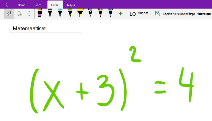 Matemaattisten kaavojen kirjoittaminen OneNote for Windows 10:ssä