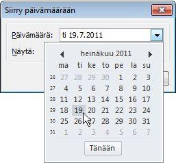 Siirry päivämäärään -valintaikkuna ja päiväyskaavio