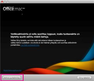 Näyttökuva Office for Macin Aktivoi puhelimitse -vaihtoehdosta