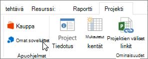 Näyttökuva osan Projekti-välilehden valintanauha, jossa osoitin Omat sovellukset. Valitse Omat sovellukset ja valitse viimeksi käytetyt sovelluksen, kaikki sovellusten hallinta tai uusia sovelluksia Office-kaupasta.