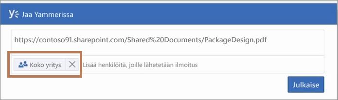 PDF-tiedoston julkaiseminen Yammerissa
