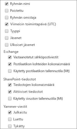 Office 365:n ryhmäraportti – valitse sarakkeet