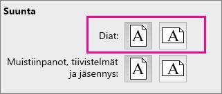 PowerPoint for Macin sivun suunta