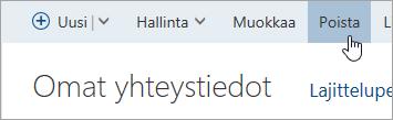 Näyttökuva Poista-painiketta.