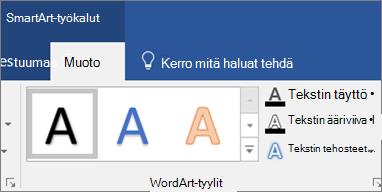 Valitse Tekstitäyttö tai Tekstitehosteet