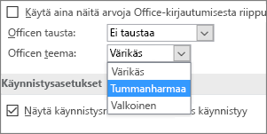 Office-teeman avattava valikko, Värikäs-, Tummanharmaa- ja Valkoinen-teema-asetukset