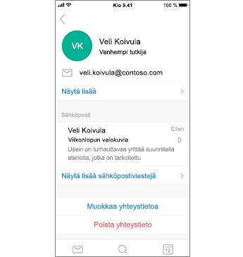 Yhteystieto-sivu, jossa Poista yhteystieto punaisella tekstillä